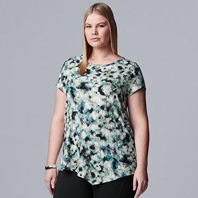 Plus Size Simply Vera Vera Wang Asymmetrical Textured Print Tee