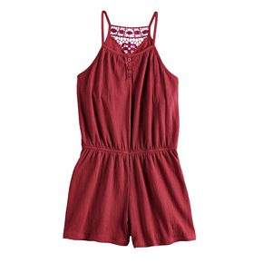 Girls 7-16 Mudd® Crinkle Lace Romper