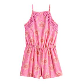Girls' Mudd® Crochet High Neck Romper