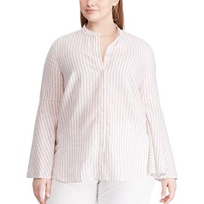 Plus Size Chaps Bell Sleeve Linen Blouse