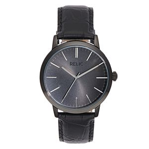 Relic By Fossil Men's Jeffrey Black Leather Watch - ZR77319