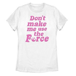 Juniors' Star Wars Don't Make Me Use The Force Retro Pink Text Tee