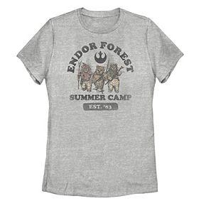 Juniors' Star Wars Endor Forest Summer Camp Distressed Portrait Tee