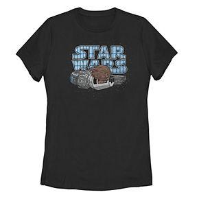 Juniors' Star Wars Kawaii Chewbacca In Flight Portrait Logo Tee