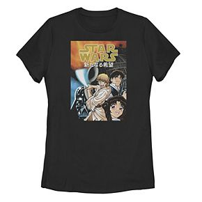 Juniors' Star Wars Anime Style Group Shot Poster Tee