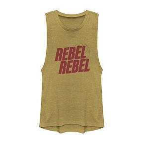 Juniors' Star Wars Bold Rebel Red Text Muscle