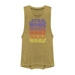 Juniors' Star Wars Retro Logo Colorful Word Stack Muscle
