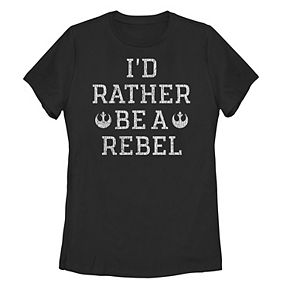 Juniors' Star Wars I'd Rather Be A Rebel Word Stack Tee