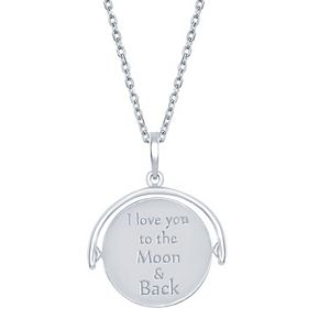 Sterling Silver I LOVE YOU TO THE MOON AND BACK Inspiration Necklace 18