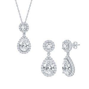Sterling Silver Pear-Shaped CZ Necklace & Earrings Set