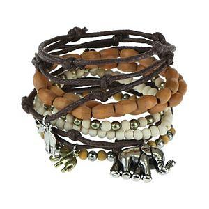 SO® Rustic Wooden Stretch & Adjustable Bracelet Set