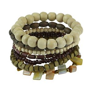 SO® Wooden Beaded Stretch Bracelet Set