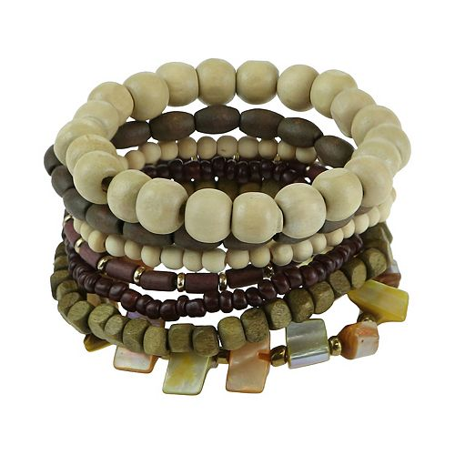 SO® Wooden Beaded Stretch Bracelet Set