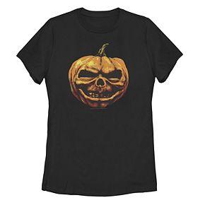 Juniors' Goosebumps Classic Creepy Pumpkin Head Tee