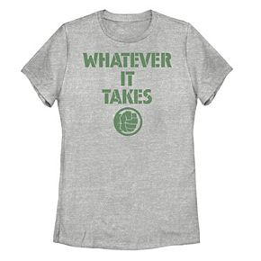 "Juniors' Marvel Hulk ""Whatever It Takes"" Logo Tee"