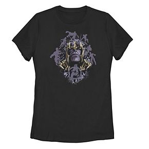 Juniors' Marvel Thanos Portrait with Hero Silhouettes Tee