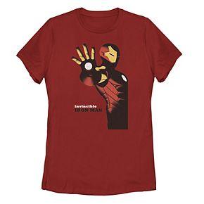Juniors' Marvel Invincible Iron Man Retro Portrait Poster Tee