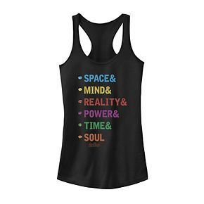 Juniors' Marvel Infinity Stones Colorful Word Stack Tank