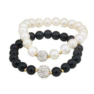 2-Pair Freshwater Cultured Pearl & Black Onyx Stretch Bracelet Set
