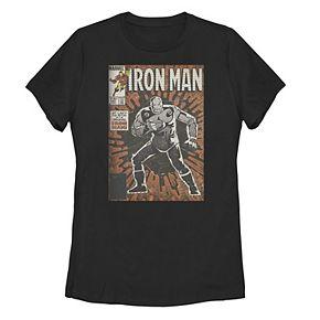 Juniors' Marvel The Return Of The Original Iron Man Comic Cover Tee