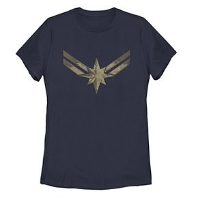 Juniors' Marvel Captain Marvel Distressed Logo Tee