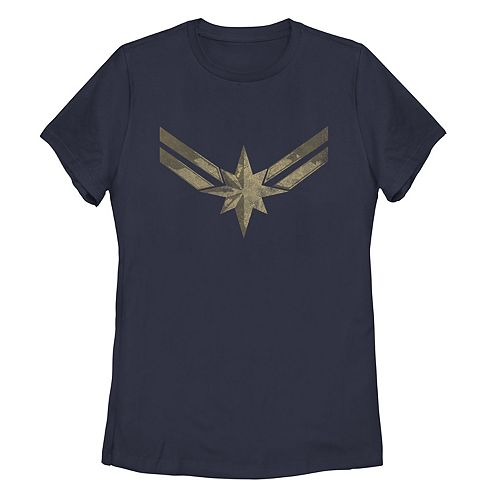 Juniors' Marvel Captain Marvel Distressed Logo Tee