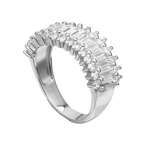 PRIMROSE Sterling Silver Cubic Zirconia Wavy Band Ring