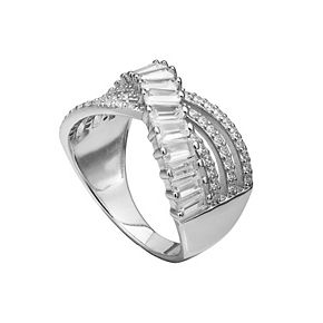 PRIMROSE Sterling Silver Cubic Zirconia Swirl Crossover Band Ring