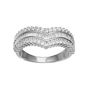 PRIMROSE Sterling Silver Cubic Zirconia V Band Ring