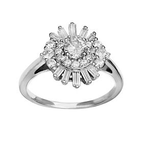 PRIMROSE Sterling Silver Cubic Zirconia Band Ring
