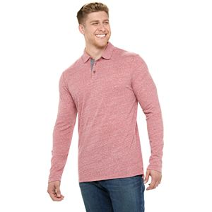 Big & Tall SONOMA Goods for Life Modern Fit Long Sleeve Snit Polo Shirt