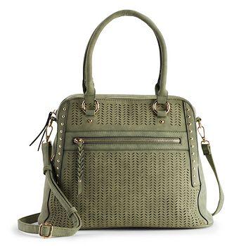 Chevron Perforated Handbag