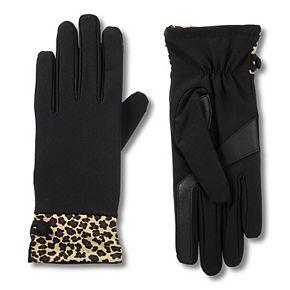 Women's isotoner Leopard Print Cuff Spandex Gloves with smartDRI & smarTouch Technologies