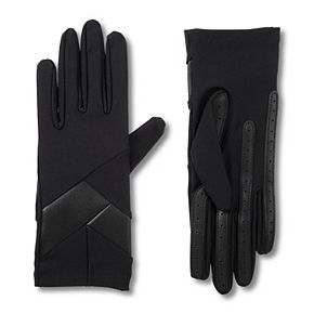 Women's isotoner Faux Leather Detail Spandex Gloves with smarTouch & smartDRI Technologies
