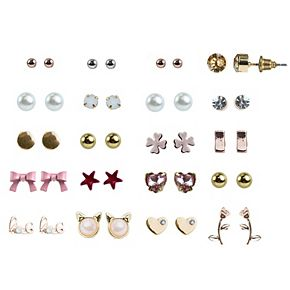 Girl's Elli by Capelli 20 pc Earring Set with Assorted Shapes & Acrylic Stones