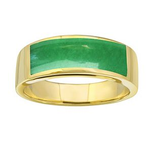 Men's Rectangle Jade Ring