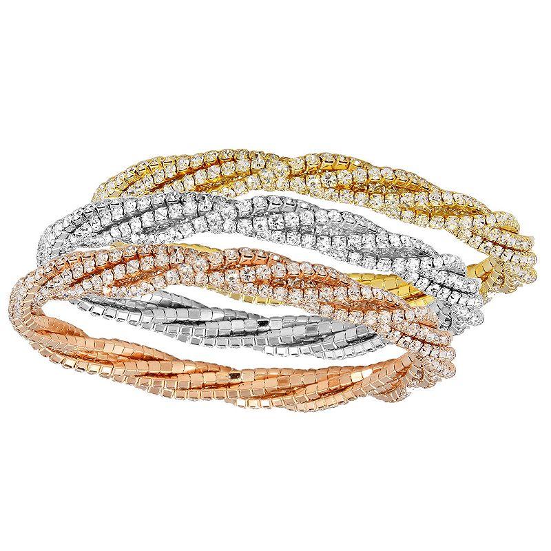 "Rose, White and Yellow 3-piece Stretch Bracelet Set, Women's, Size: 7.5"""