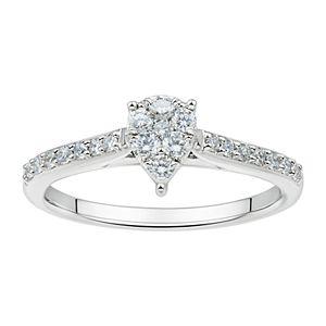 Grown With Love Sterling Silver 1/2 Carat T.W. Lab Grown Diamond Teardrop Cluster Ring