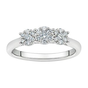 Grown With Love Sterling Silver 1/3 Carat T.W. Lab Grown Diamond Cluster Ring