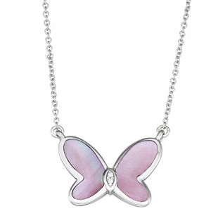 Sterling Silver Pink Mother Of Pearl & Diamond Accent Butterfly Necklace