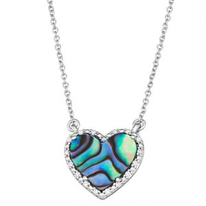 Sterling Silver Abalone Shell & Diamond Accent Heart Necklace