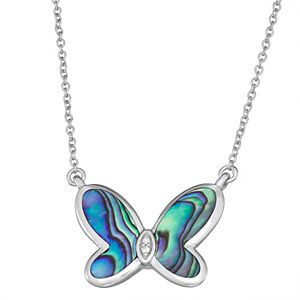 Sterling Silver Abalone Shell & 0.008 Carat TW Diamond Butterfly Necklace