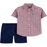 Baby Boy Carter's 2 Piece Plaid Button-Front Shirt & Canvas Shorts Set