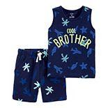 """Toddler Boy Carter's 2 Piece """"Cool Brother"""" Tank Top & Shorts Set"""