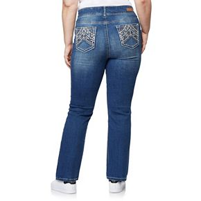 Juniors' Plus Size WallFlower Midrise Curvy Bling Bootcut Jeans