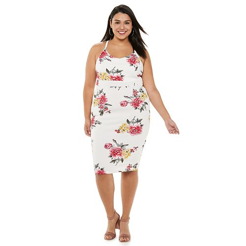 Juniors' Plus Size Almost Famous Cami Lace Back Bodycon Midi Dress