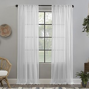Clean Window Crushed Texture Anti-Dust Sheer Window Curtain