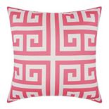 Mina Victory Greek Key Turquoise Outdoor Throw Pillow