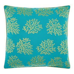 Mina Victory Embellished Corals Turquoise Green Outdoor Throw Pillow