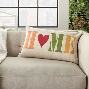 "Mina Victory Home For The Holiday ""Home"" Multicolor Throw Pillow"